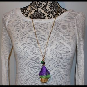 Mardi Gras Tassel Necklace